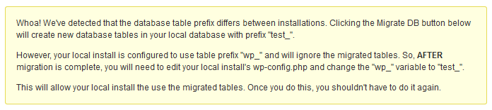 Screenshot of the different database prefix warning message