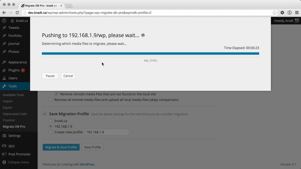 Database progress of a WP Migrate DB Pro push migration