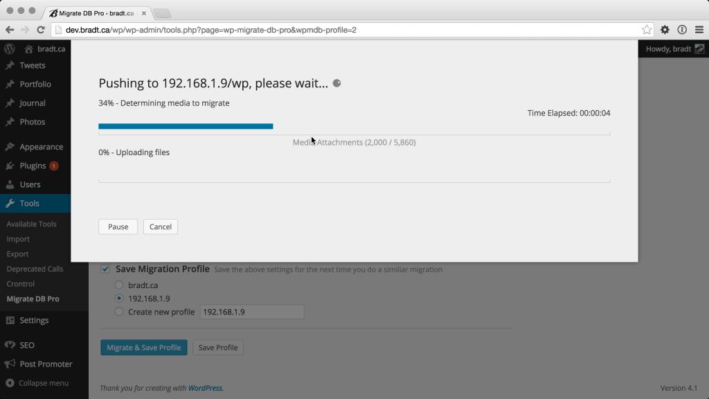 Media files progress of a WP Migrate DB Pro push migration