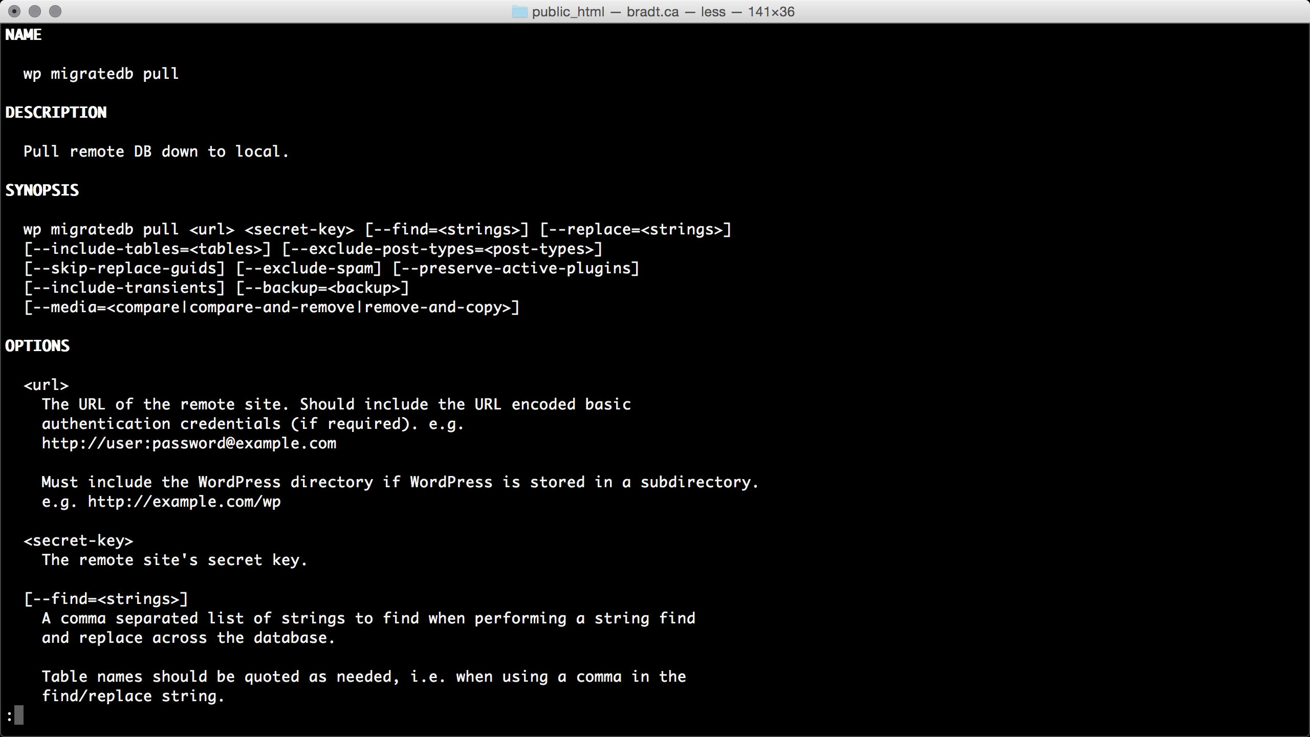 WP Migrate DB Pro command line man page