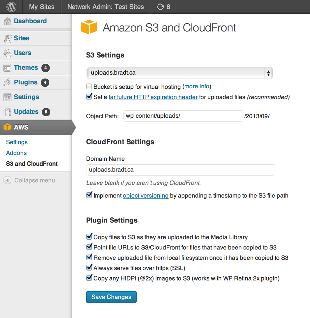 Old Amazon S3 & CloudFront Screenshot