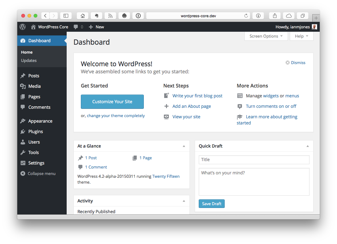 Dashboard ‹ WordPress Core — WordPress