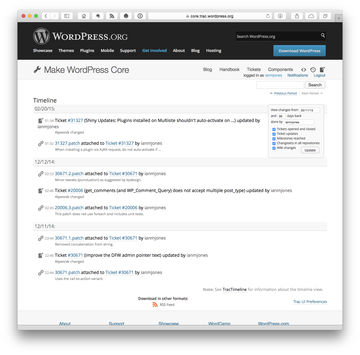 Timeline – WordPress Trac