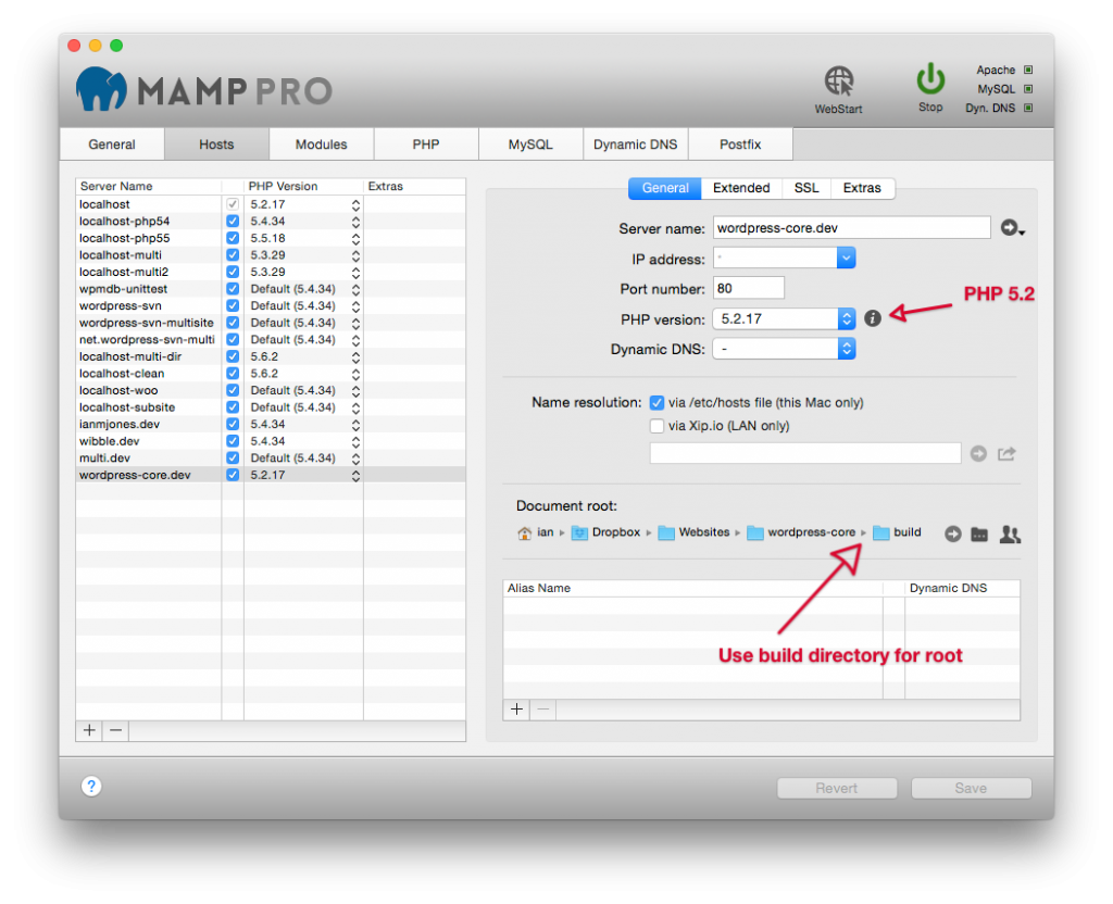 WordPress Core Site Setup (MAMP PRO)