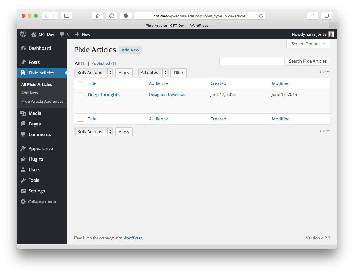 Pixie Articles Admin with New Columns