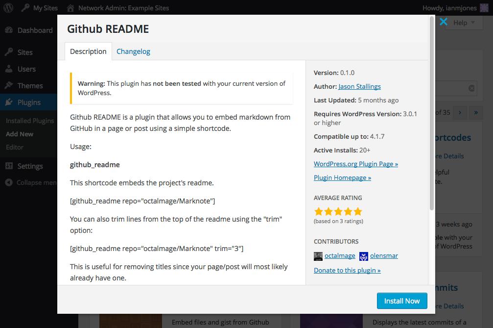 GitHub README - Plugin Info