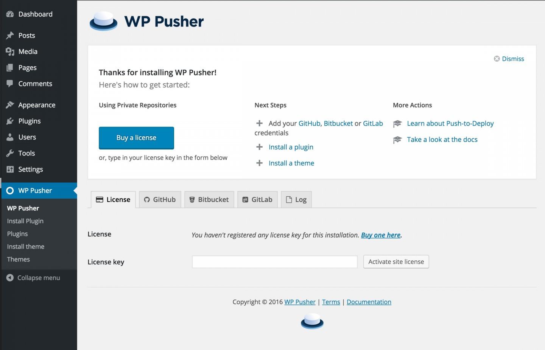 WP Pusher main screen