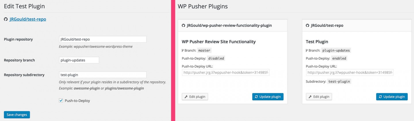 WP Pusher Edit and List screens