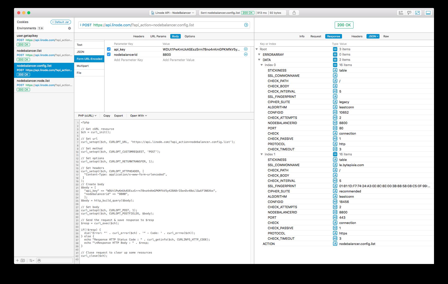 Paw - Linode API - NodeBalancer