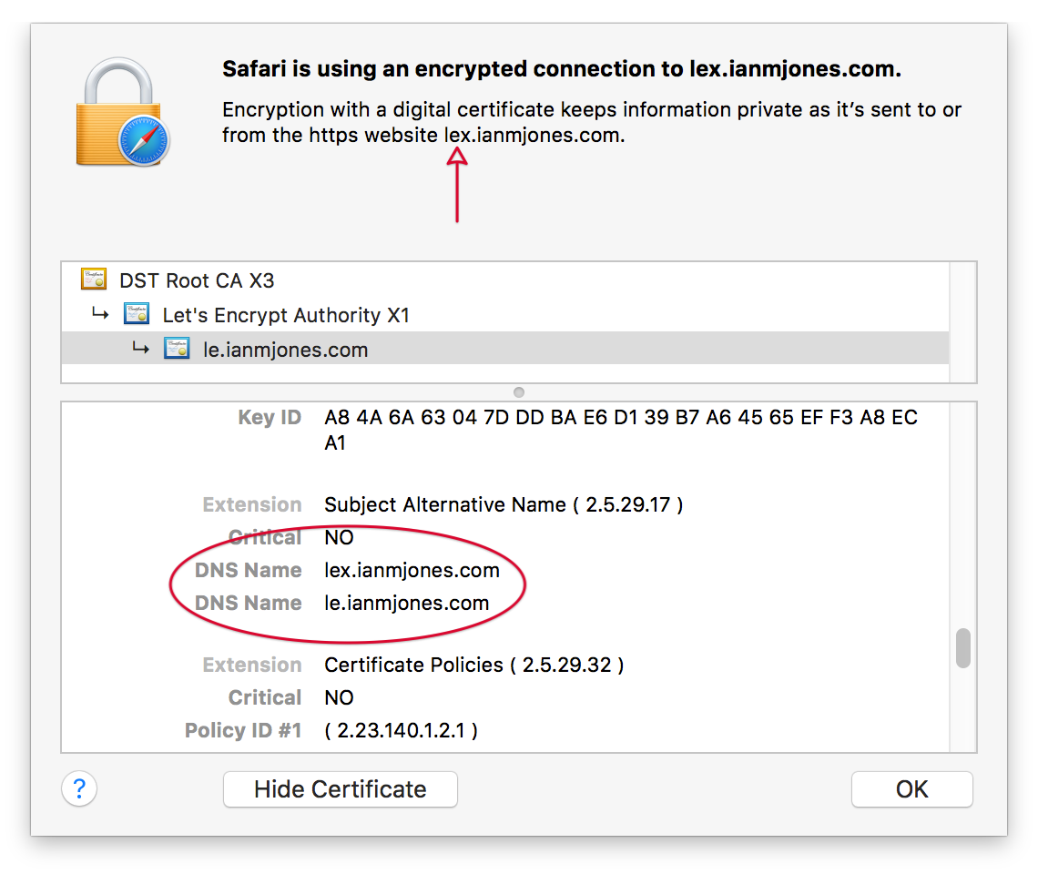 Let's Encrypt Certificate in Safari - LEX