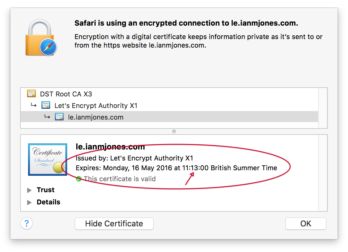 Let's Encrypt Certificate in Safari - Renewed