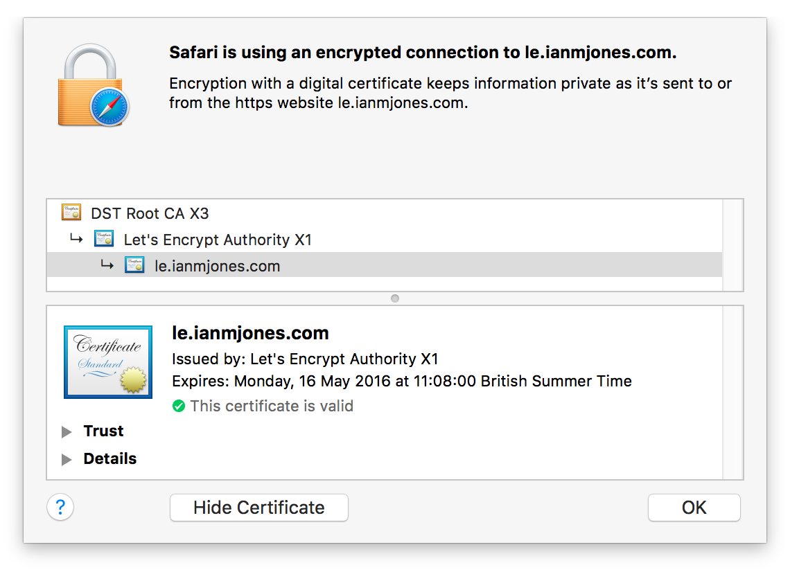 Let's Encrypt Certificate in Safari
