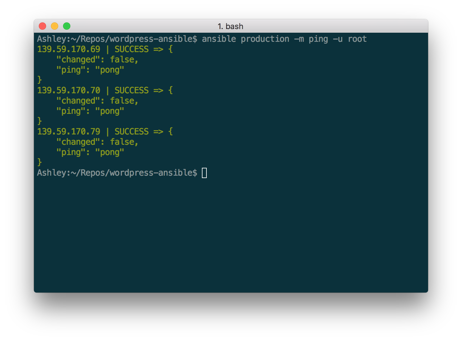Automating server setup with ansible ansible ping you can also run any arbitrary command on the remote hosts using the a flag for example to view the available memory on each host maxwellsz