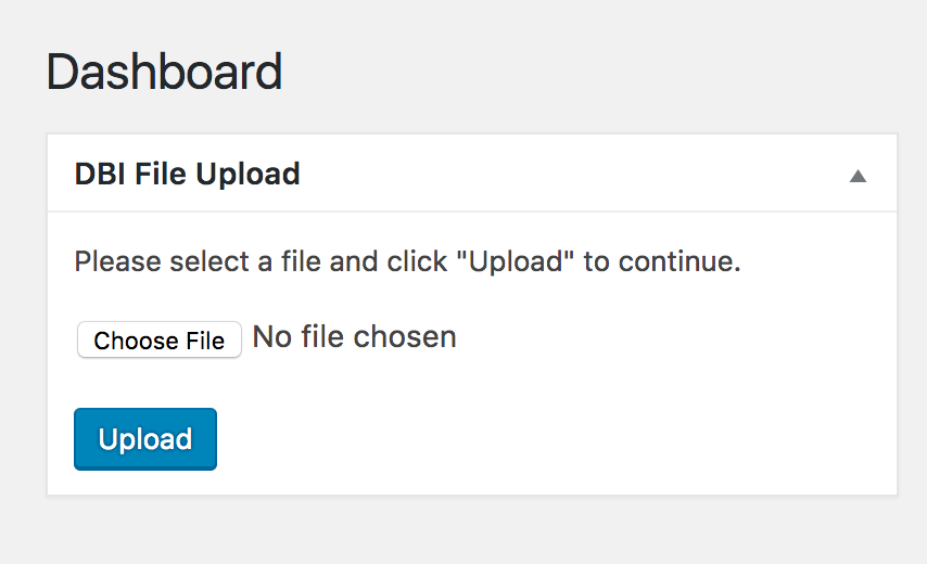 Screenshot of upload form
