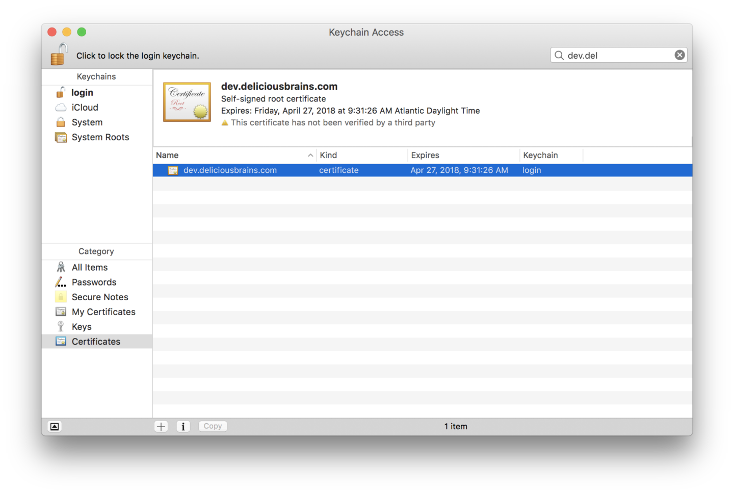 Screenshot of MacOS Keychain Access with newly added certificate
