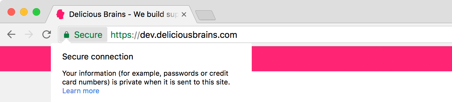 Screenshot of Chrome browser showing a secure connection using the new self-signed certificate