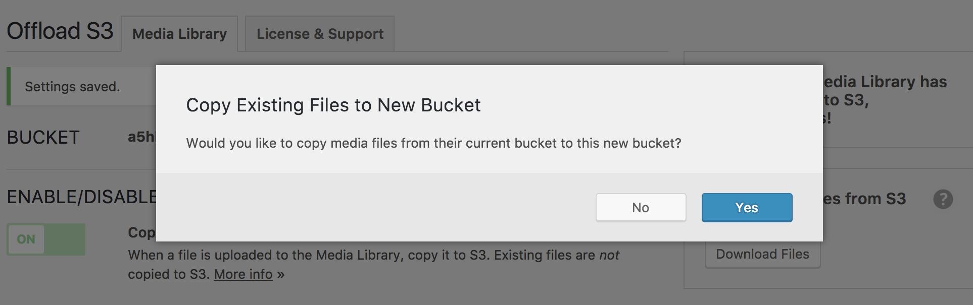 Screenshot of the prompt to copy between buckets