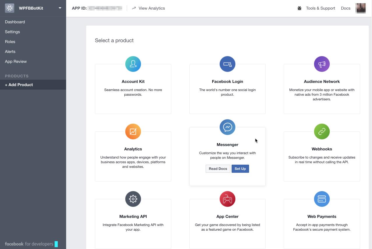 App : Add Product : Messenger