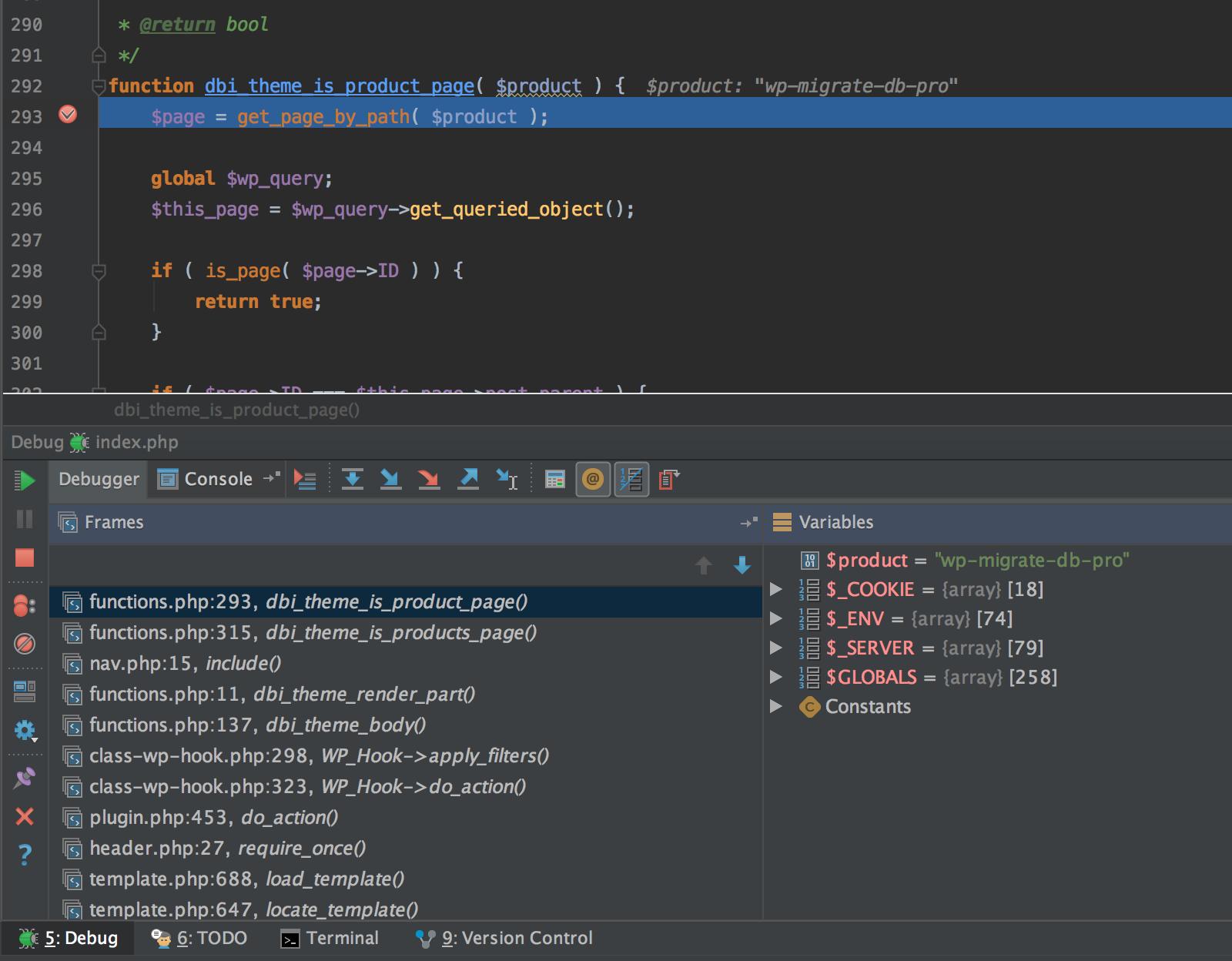 PhpStorm Xdebug debugging panel