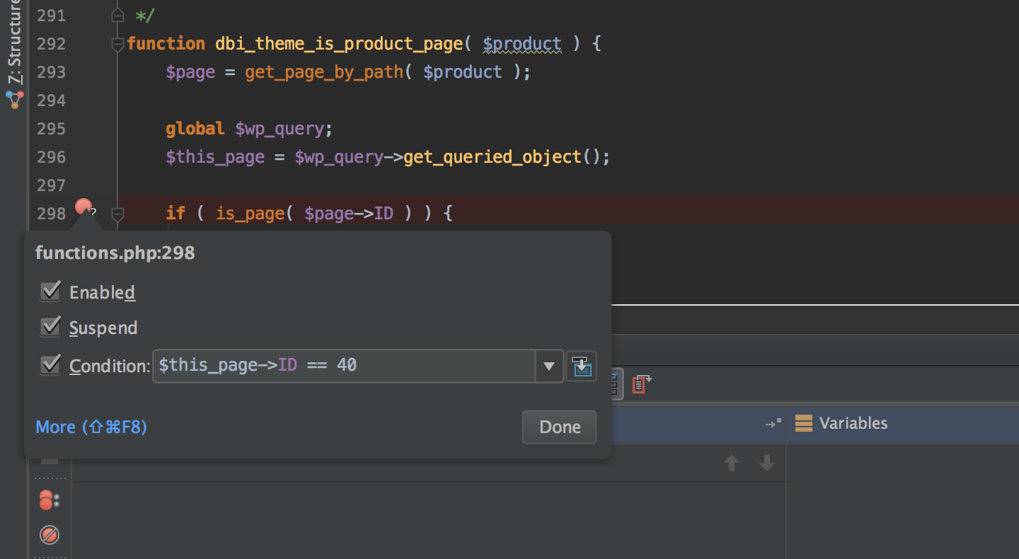 PhpStorm add conditional breakpoint
