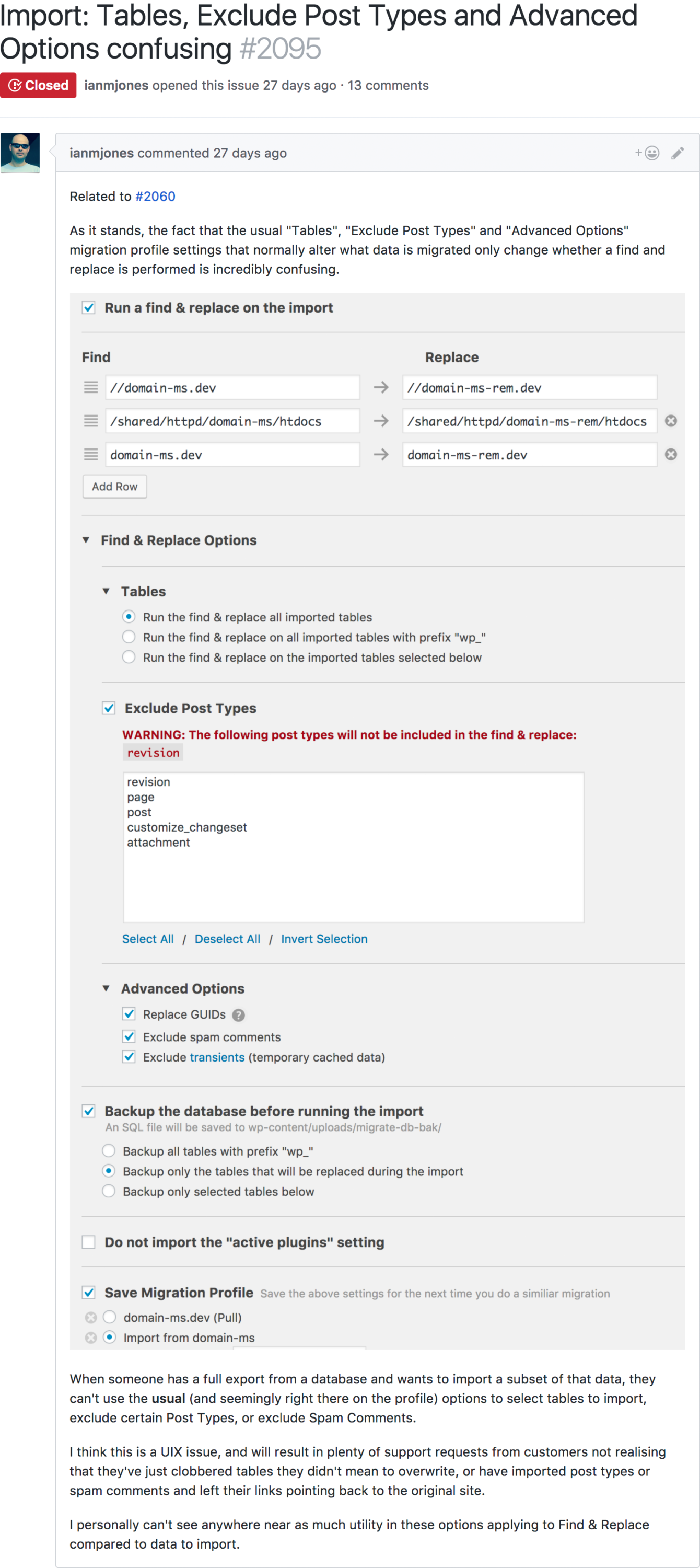 Screenshot of Jonesy's GitHub issue explaining the user experience problem he found while testing WP Migrate DB Pro 1.8