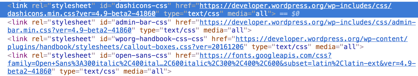 Screenshot of WordPress link tags with version in URL