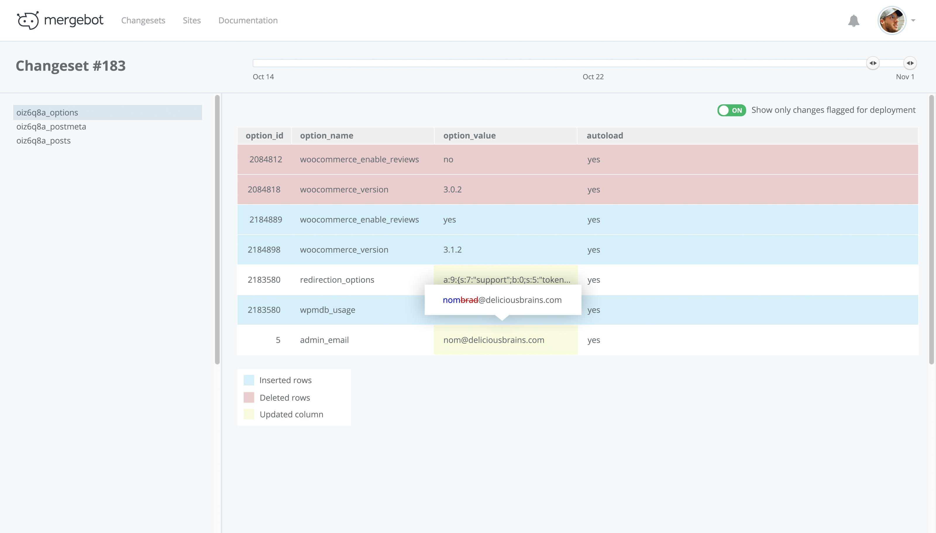 X-Ray for Mergebot mockup - visualize database changes