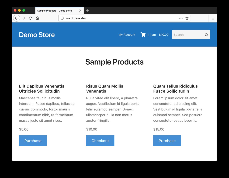 Screenshot of example store