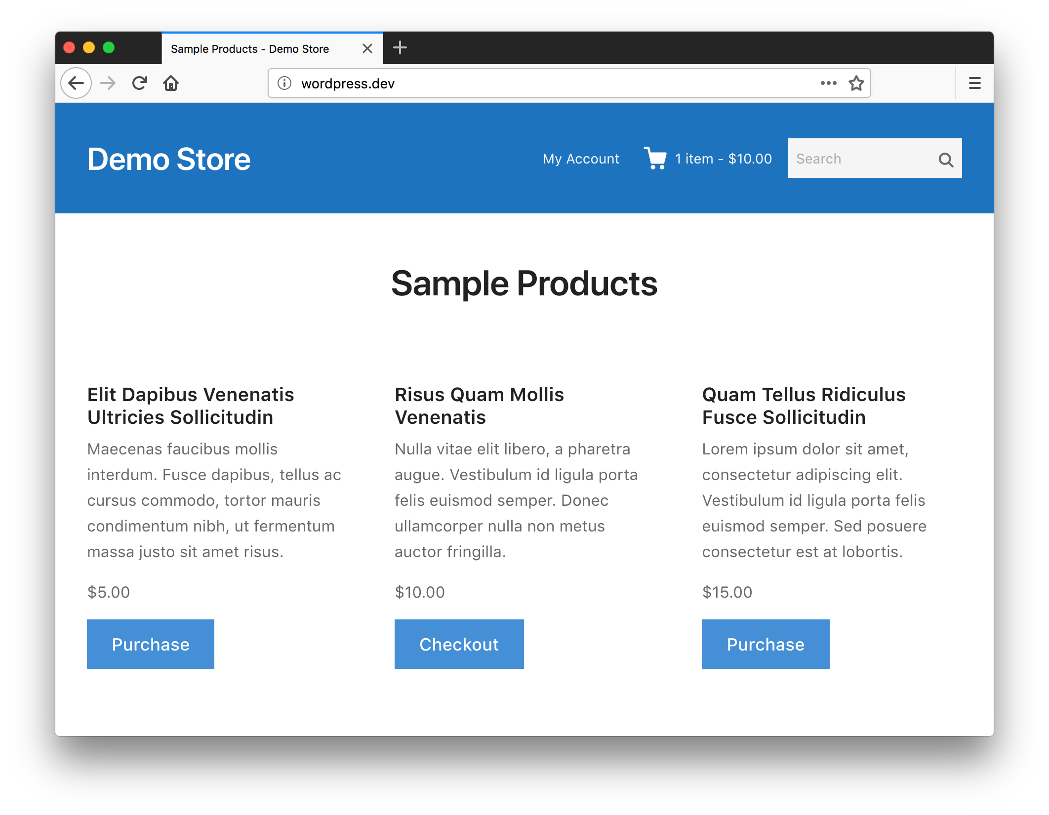 Screenshot of example store