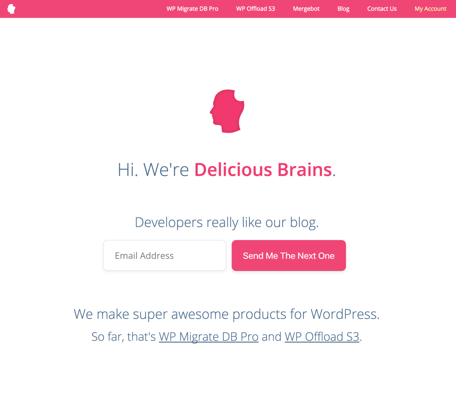 screenshot old Delicious Brains homepage with white background