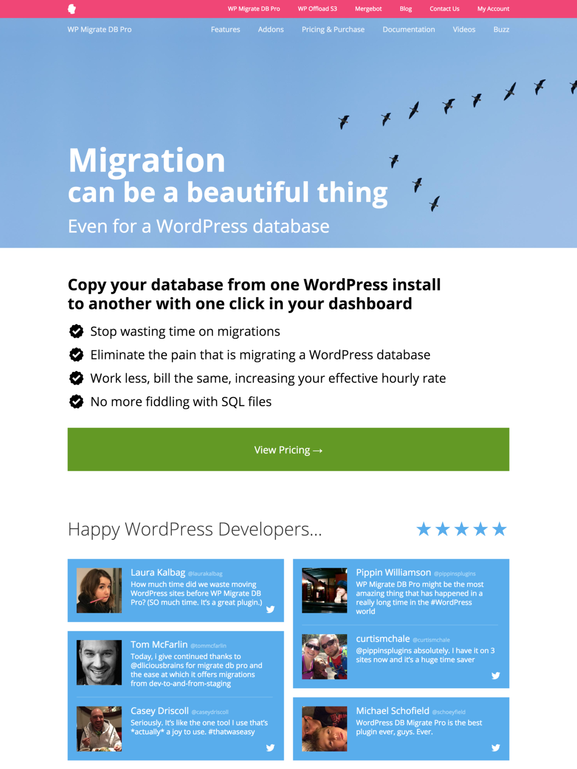 screenshot of old WP Migrate DB Pro sales page