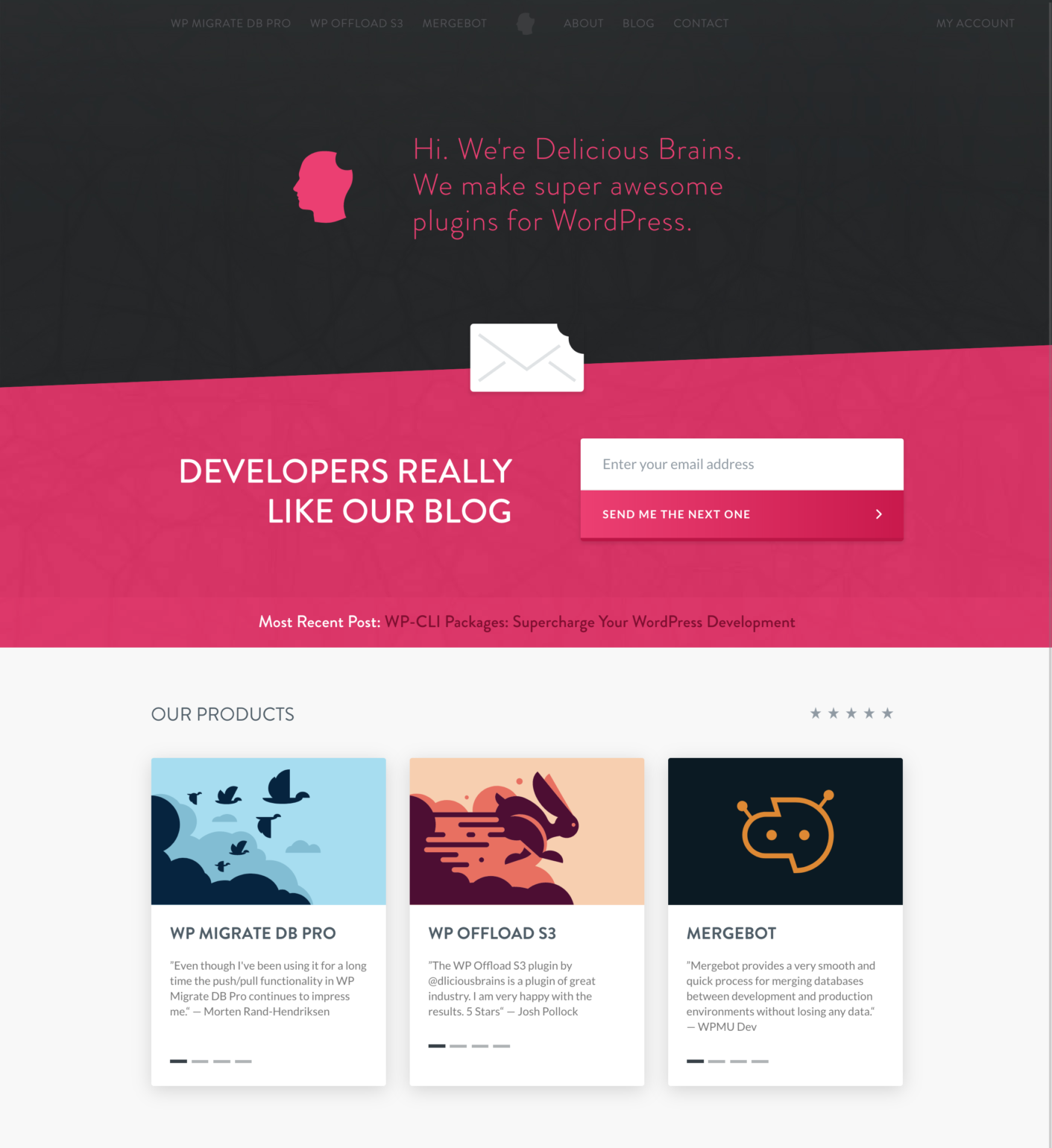 screenshot new Delicious Brains homepage with black and pink background