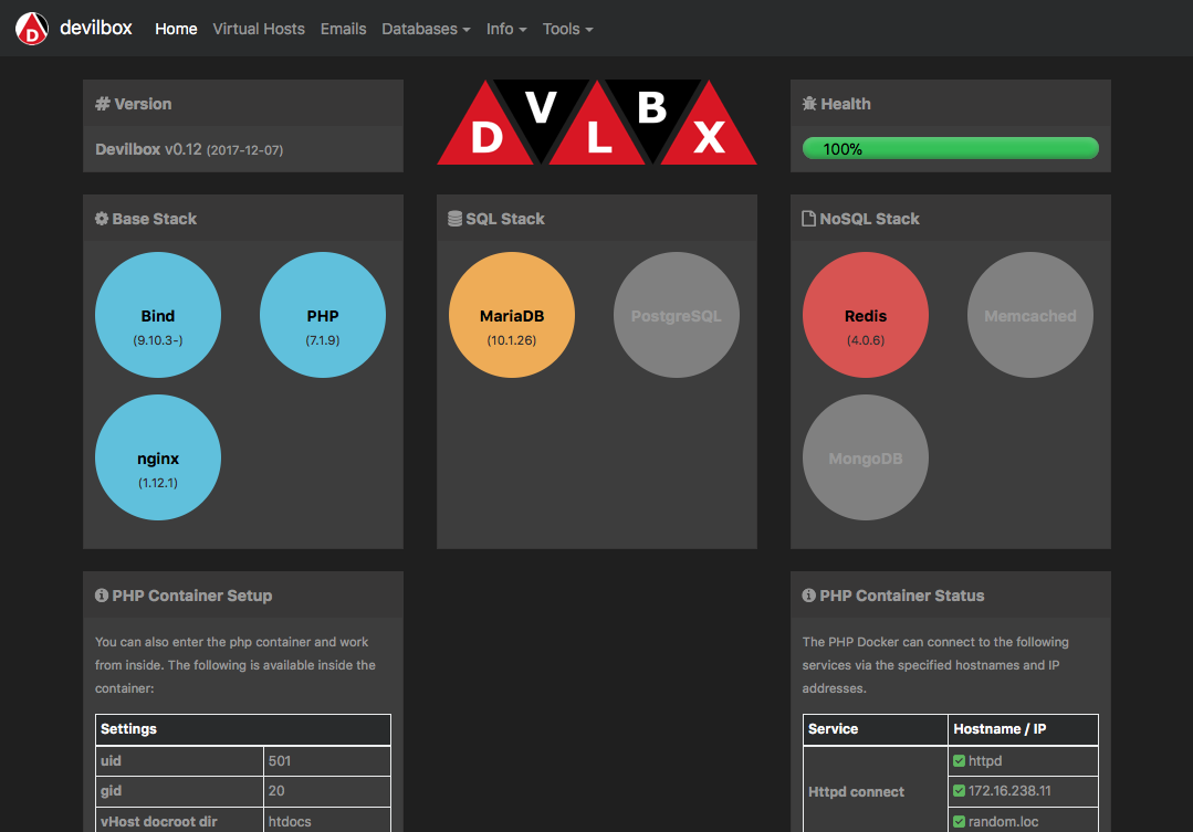 Devilbox status page