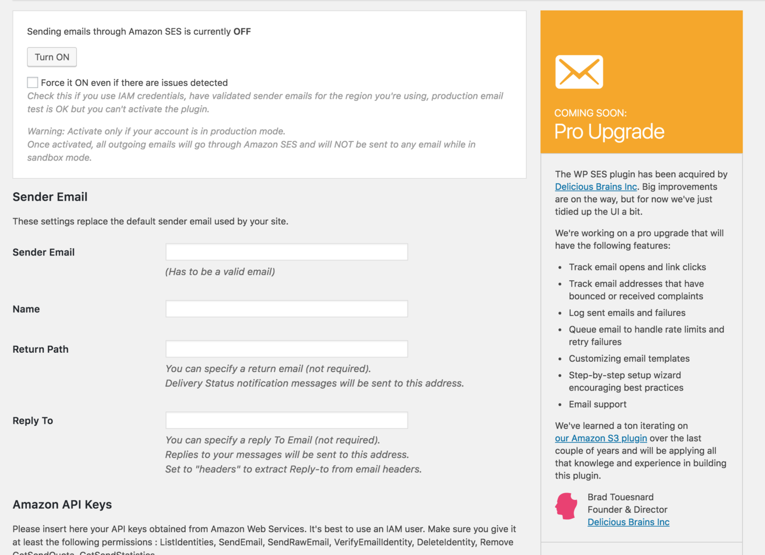WP SES plugin settings page
