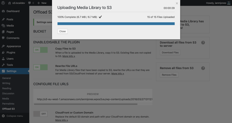 WP Offload S3 Upload Complete