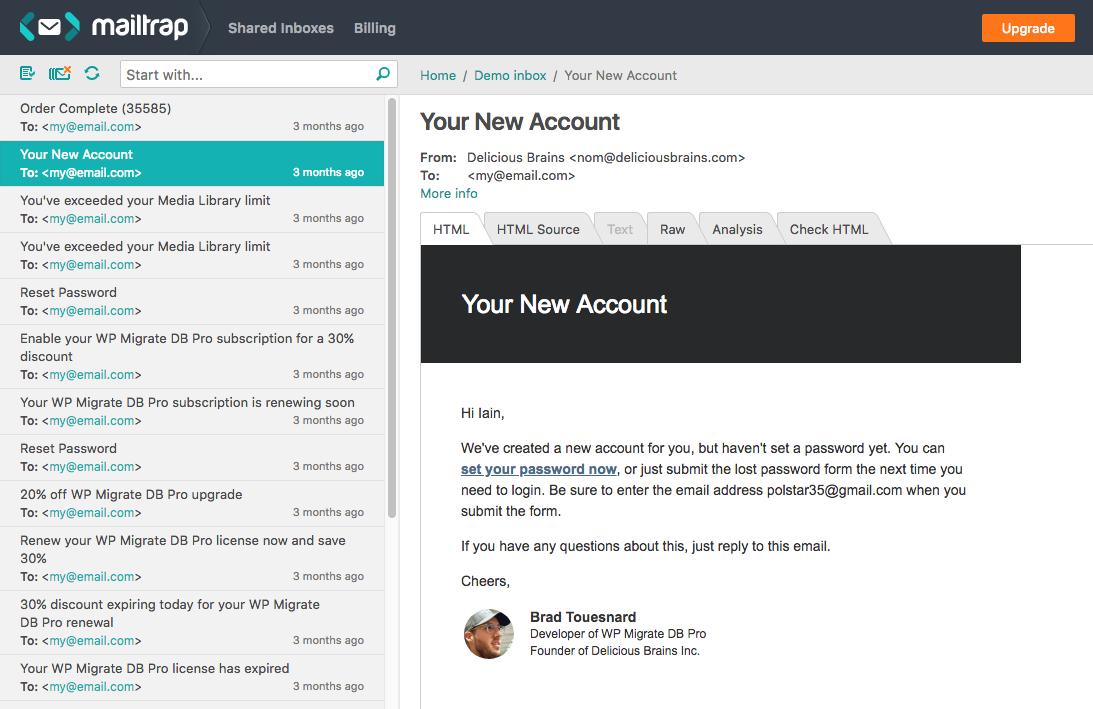 Mailtrap inbox