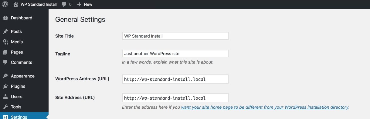 standard WordPress install settings