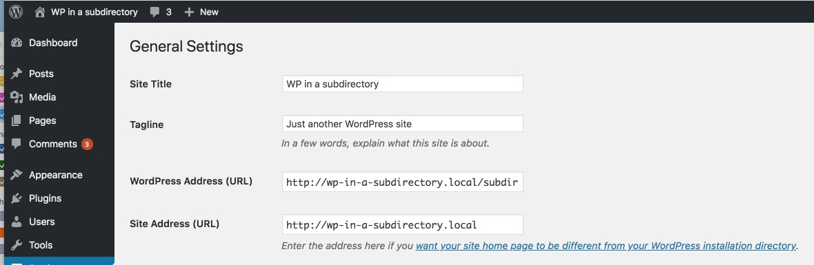 WordPress installed in a subdirectory settings