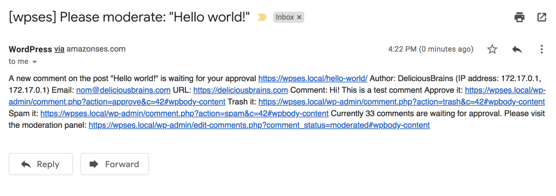 Broken WordPress site email
