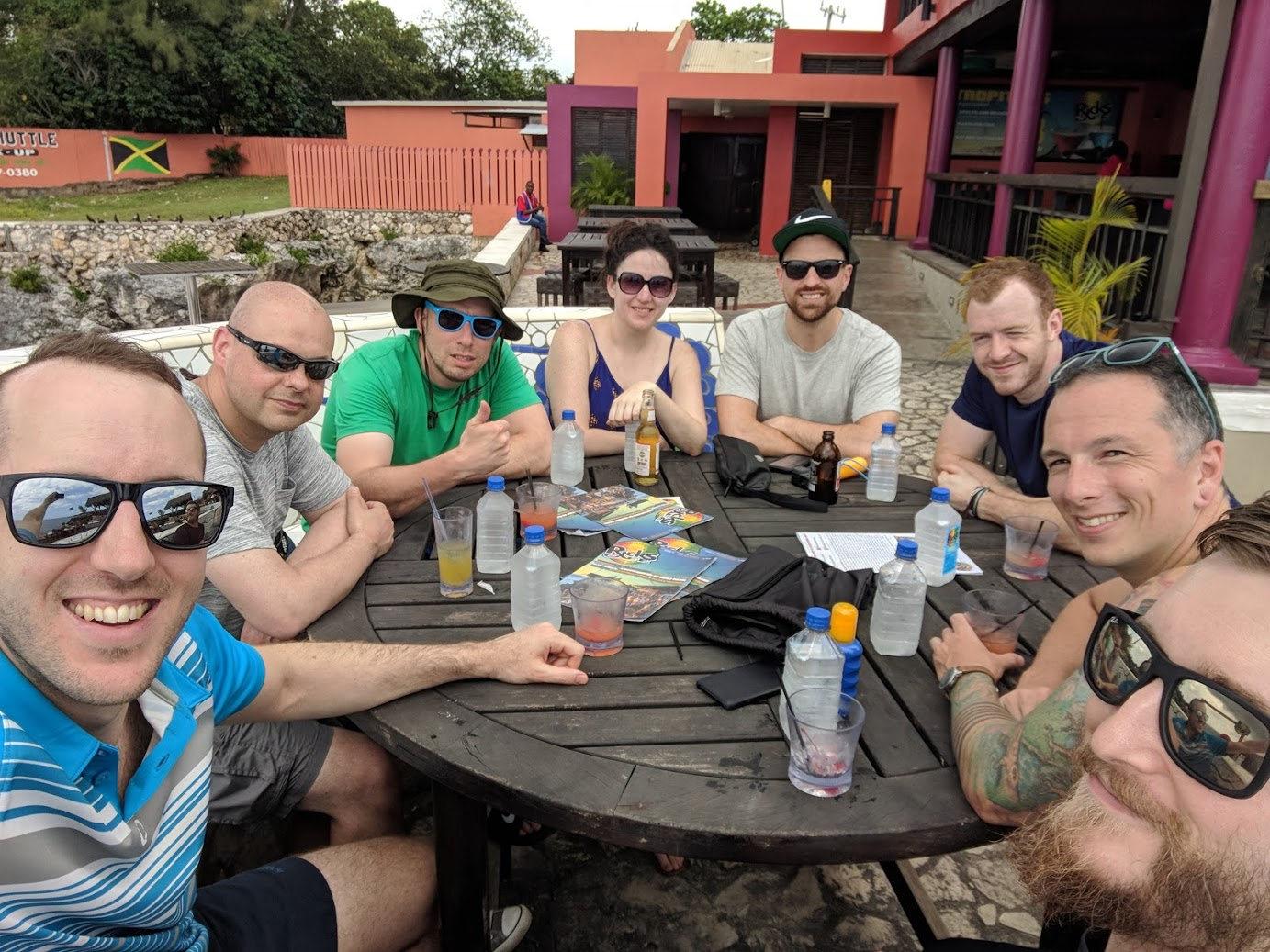 The team drinking at Rick's Cafe
