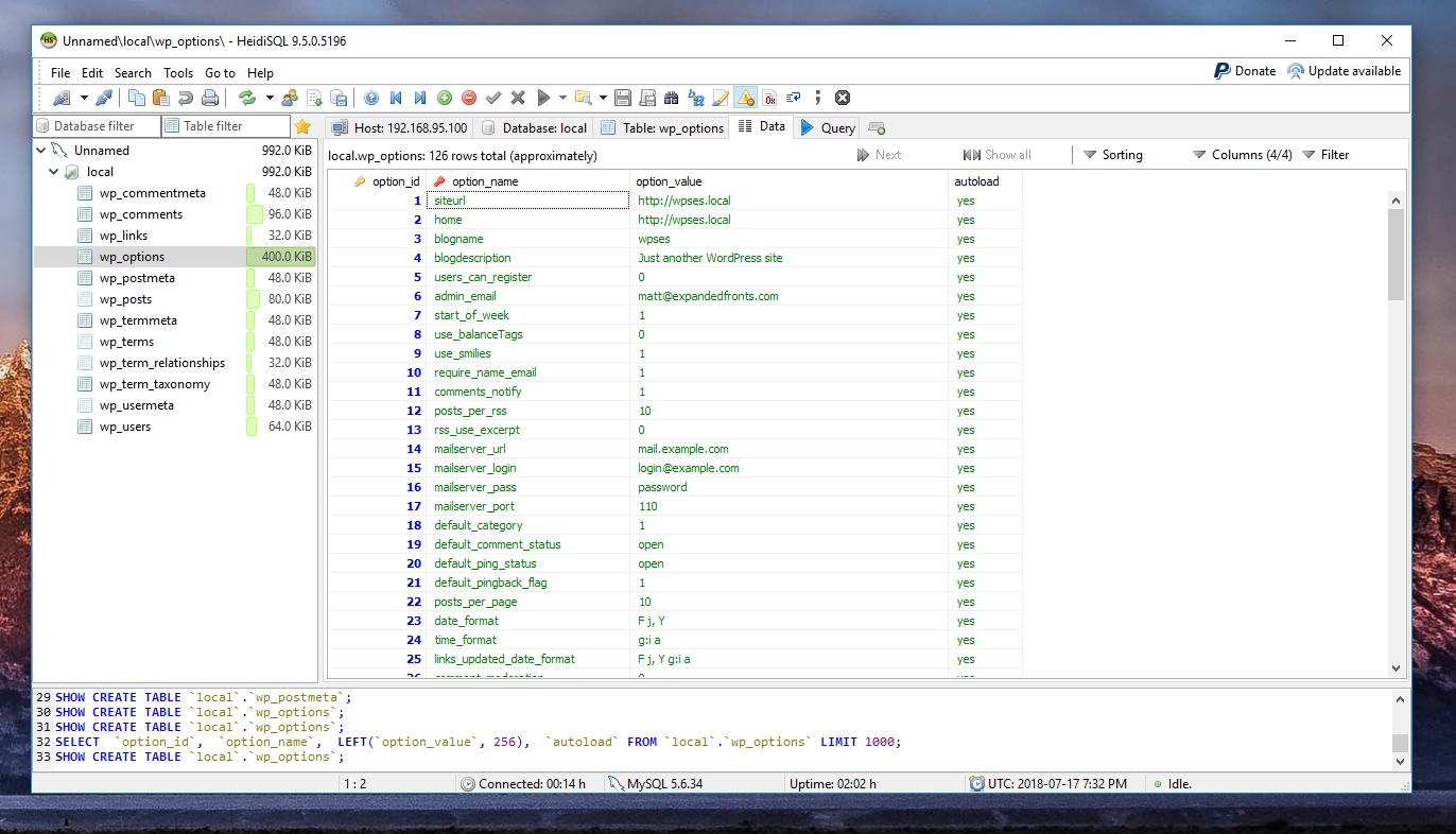HeidiSQL MySQL GUI