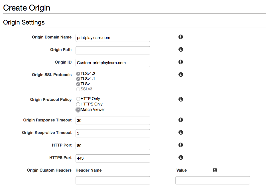 Create custom origin for serving assets