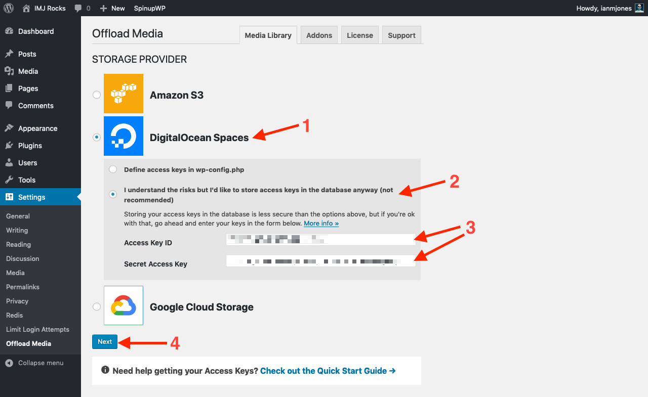 Save DigitalOcean Spaces Access Keys in UI