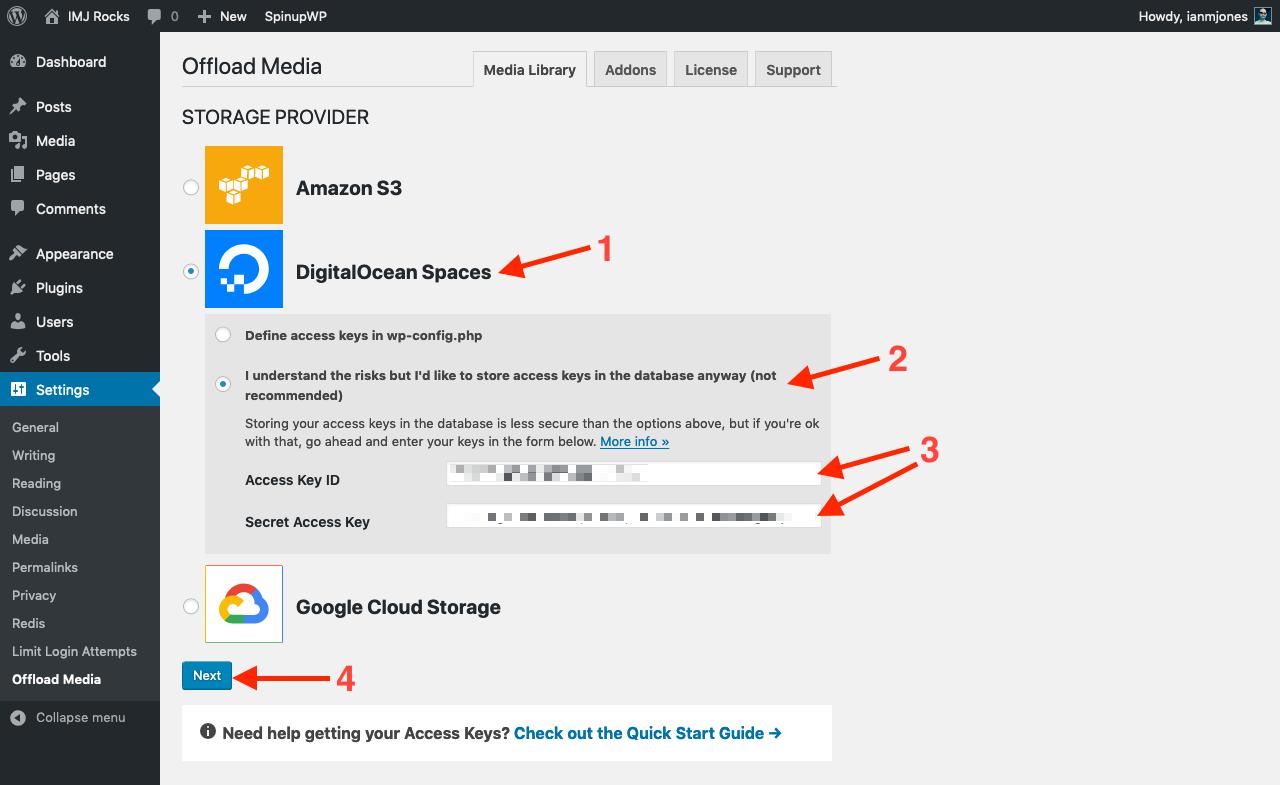 Save DigitalOcean Spaces Access Keys in UI