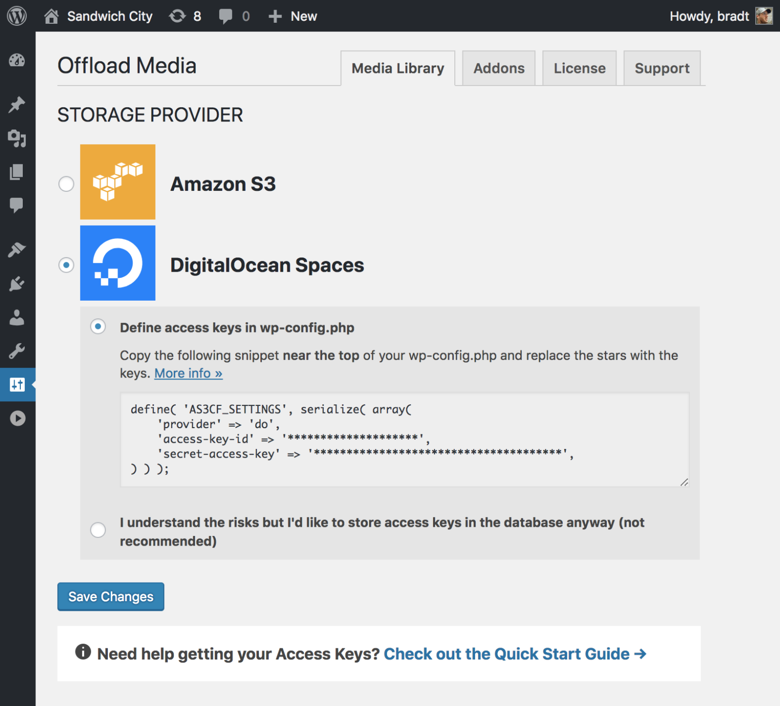 Storage provider screen in WP Offload Media selecting DigitalOcean Spaces