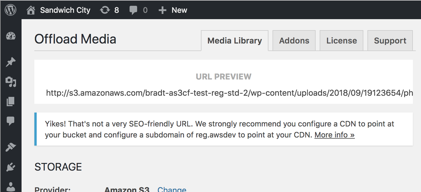 Screenshot of SEO-friendly URL message