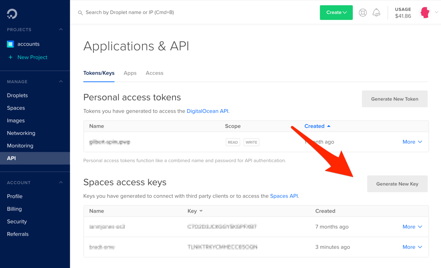 Generate new key button in DigitalOcean Spaces