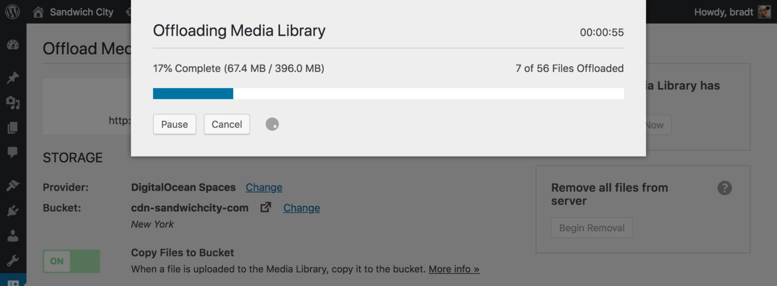 WP Offload Media file offload progress screen
