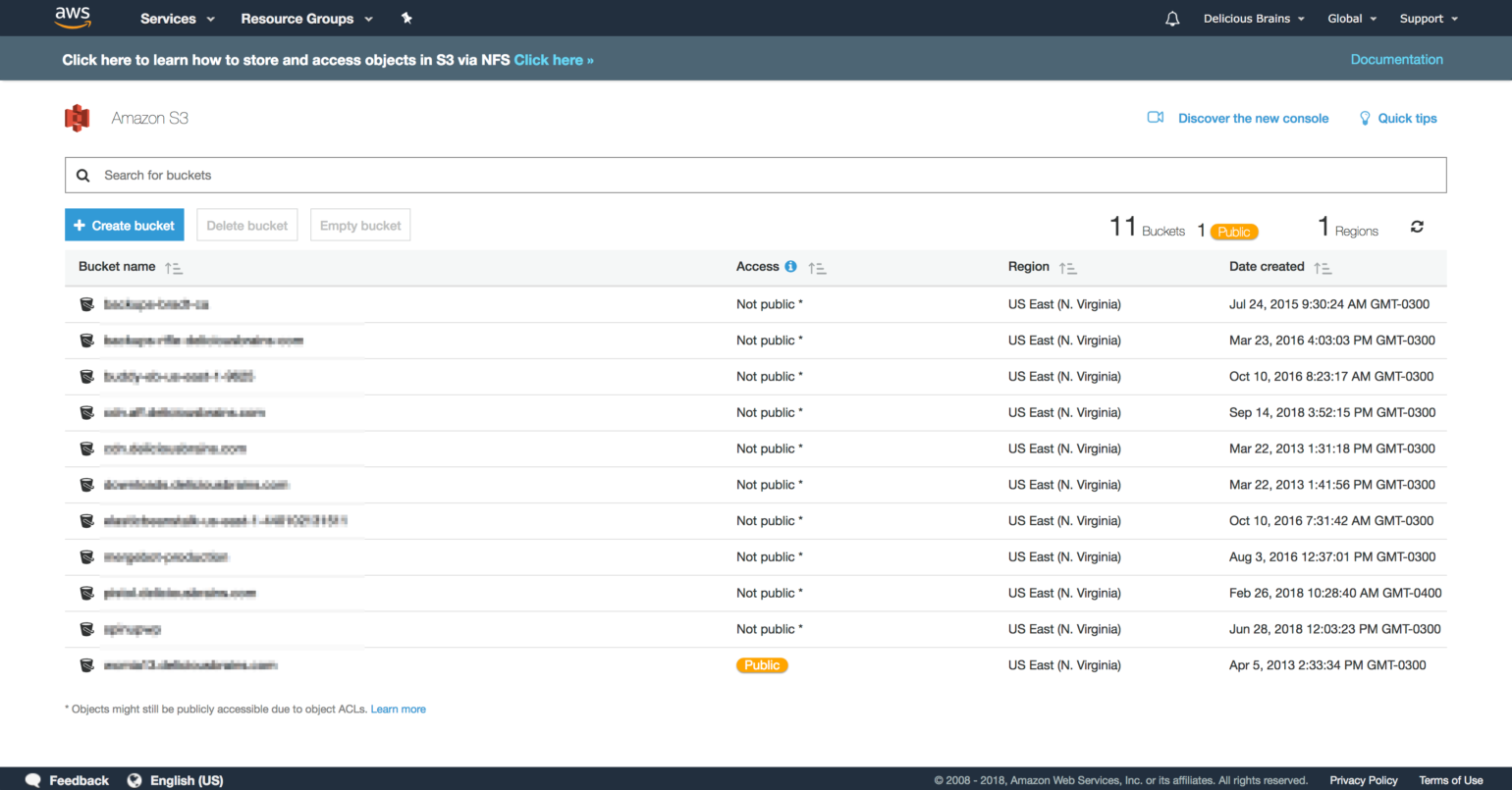 Screenshot of Amazon S3 in the AWS Console