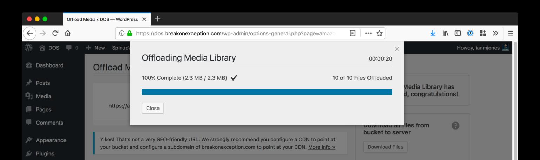 WP Offload Media Offload Complete